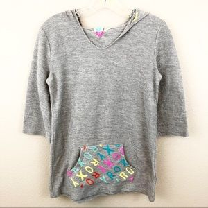 Roxy Girl 14 XL Hoodie Pullover Pouch Pink Grey